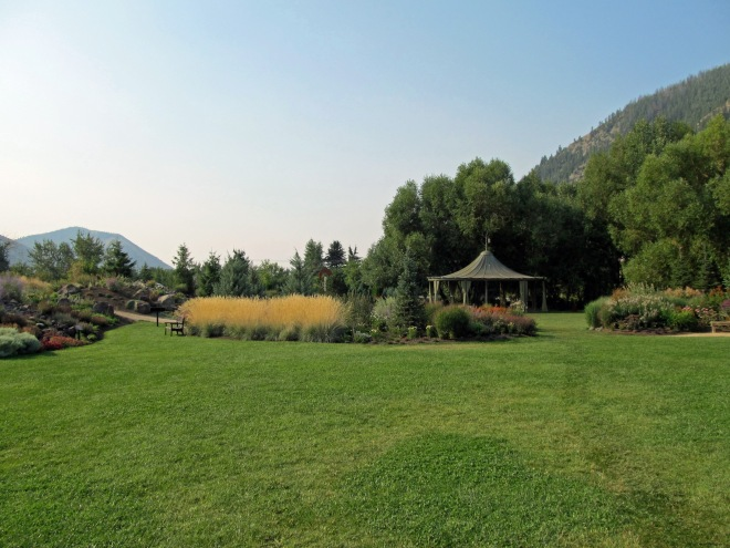 Central area of the garden featuring perennial beds and the Ellen Long Garden Pavillion